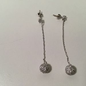 Long ball and chain silver earrings